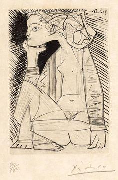 PABLO PICASSO (Malaga 1881-1973 Mougins) Femme assise en tailleur: Geneviève Laporte. 1951.