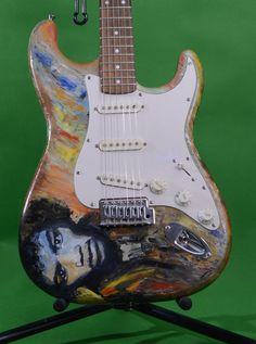 Hand Painted Guitar, Jimmy Hendrix Tribute