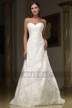A Line Sweetheart Chapel Train Lace Wedding Dress (W565)...this is different and I love love love it!!!!
