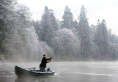 Salmon fishing, river Tay, Dunkeld, Scotland