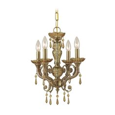 Crystal Mini-Chandelier in Aged Brass Finish   5174-AG-GTS   Destination Lighting