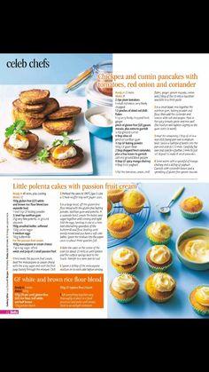 little polenta cakes with passionfruit cream
