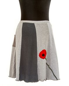 T-Skirt Upcycled recycled appliqué grey t-shirt by sardineclothing