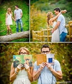 Outdoor-romantic-engagement-shoot-in-the-field-in-nature......REALLY REALLY LIKE THIS IDEA WITH THE GLASSES AND THE BOOKS!!
