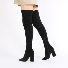 Eve Round Heel Long Boots in Black Faux Suede