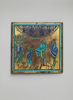 Plaque with the Annunciation to the Shepherds Date: ca. 1165 Geography: Made in Meuse Valley, Netherlands Culture: South Netherlandish Medium: Champlevé enamel, copper alloy, gilt Dimensions: Overall: 4 1/4 x 4 5/16 x 3/16 in. (10.8 x 11 x 0.4 cm) Accession Number: 17.190.417 Metropolitan Museum of Art