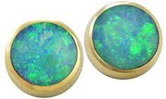 8mm Round Opal Screw-Back Earrings