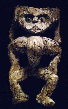 """Dayak reliquary guardian figure from Borneo, Indonesia circa 1280-1400 A.D.  Itis 35 inches high and was once in the collecion of Maureen Zarember.  Primitive works of art are very rarely so old.  The catalogue entry said that such figures were """"incorporated into richly-adorned ancestral ossuary -shrines which were placed in caves, on cliff ledges, or under rocky overhangs."""
