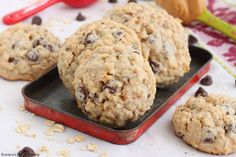 Melting chocolate, creamy peanut butter, flavorful coconut, crunchy pecans and chewy oats - all combined in these delicious chocolate chip oatmeal cookies.