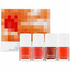 Four gorgeous polishes. And the glitter? Swoon. Sephora + Pantone  Tangerine Tango   COLOR OF THE YEAR NAIL ENAMEL SET #sephora #colorwash #tangerinetango