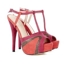 Peep toe platform heel with t-strap and colorblock details. $49.95