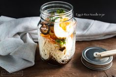 Rice noodle with egg in Jar