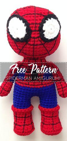 Spiderman Amigurumi – Pattern Crochet – Cute Crochet Easter Crochet, Crochet Bear, Cute Crochet, Crochet Crafts, Crochet Dolls, Crochet Projects, Doll Amigurumi Free Pattern, Crochet Toys Patterns, Crochet For Boys