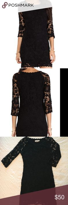 Velvet by Graham & Spencer Blk Lesla Lace Dress S This Velvet by Graham & Spencer Lesla crochet lace dress (size small) in black is a must have!  Comfortable and stylish, this elegant dress has a round neck, sheer 3/4 length sleeves and is fully lined.  Dress is pullover style.  Dress is made of 100% cotton, lining is 95% rayon and 5% spandex.  From a pet-free and smoke-free home this dress is in great condition! Velvet by Graham & Spencer Dresses