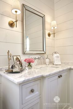 Glam farmhouse bathroom