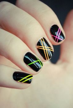 Black is classic! Black nail art designs can instantly add glamour to your look. The best thing about painting your nails black. type of black nail art 2018 Neon Nail Art, Nail Art Stripes, Striped Nails, Neon Nails, Love Nails, Pretty Nails, My Nails, Hair And Nails, Color Stripes