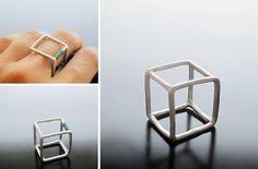 orecchini e gioielli 1129design - ispirazioni e divagazioni: Solidi platonici - Orecchini cubo in Argentium
