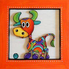 Tableau en bois peint d' Hermine la petite vache : Décorations murales par sylphide Madhubani Art, Madhubani Painting, Dot Painting, Painting For Kids, Art Drawings For Kids, Art For Kids, Coin D'art, Cow Paintings On Canvas, Art Carte