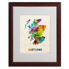 Scotland Watercolor Map by Michael Tompsett Matted Framed Painting Print