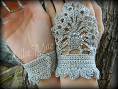 Steampunk Crochet Fingerless Gloves by lilliemaessteamtrunk