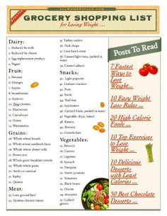 printable shopping list for the best foods for losing weight Shopping List Grocery, Healthy Shopping, Grocery Store, Get Healthy, Healthy Snacks, Healthy Recipes, Healthy Weight, Healthy Mind, Eating Healthy