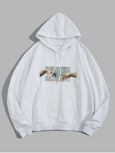 Helping Hands Graphic Front Pocket Lounge Hoodie - White L Hoodie Sweatshirts, Pullover Hoodie, Hoody, Stylish Hoodies, Cool Hoodies, Vetement Fashion, Mode Streetwear, Online Clothing Stores, Women's Clothing