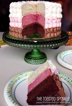 A towering 3 layer Neapolitan cake for our annual summer family BBQ. Plus a swoon worthy lactose free strawberry cake recipe. Lactose Free Cakes, Lactose Free Desserts, Lactose Free Recipes, Gluten Free, Vegan Desserts, Neapolitan Cake, Checkerboard Cake, Strawberry Cake Recipes, Wedding Cakes