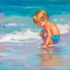 Canvas giclee uit mijn origineel schilderij van kleine jongen aan de rand van het water van graven voor wat hij kan vinden. Hij weet, iets is er dus hij zal gewoon houden aan het graven. Oh, het geduld van kinderpark!! Canvas giclee op zwaar werk berekende archivering doek 10 x 10. Dit