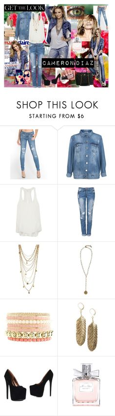 """Get the look : Cameron Diaz !"" by kikosa ❤ liked on Polyvore featuring GUESS, Miss Selfridge, rag & bone, Bee Charming, Lucky Brand, Charlotte Russe, MANGO, Christian Dior and Chanel"