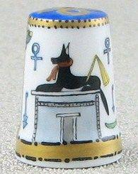 Ägepypten & Pharao-Motivos egipcios- Porcelana pintada a mano por Heinz Schneider-Alemania-Anubis por detras