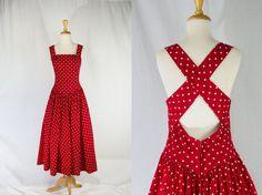 Vintage 1980's Red and White Polka-dot Sun Dress Kamisato Full Skirt
