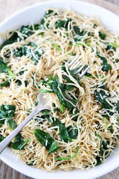 5-Ingredient Spinach Parmesan Pasta Recipe on twopeasandtheirpod.com This quick and easy pasta dish is one of our very favorites!