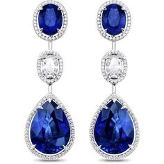 Distinctive Sapphire Suite Earrings ❤ liked on Polyvore featuring jewelry, earrings, sapphire jewelry, sapphire jewellery, sapphire earrings and earring jewelry