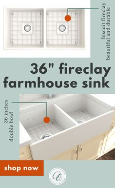 BOCCHI Biscuit 36 Inch Fireclay Sinks brings the most popular farmhouse sink material to your kitchen. This 36-inch fireclay farmhouse kitchen sink has a distinctive farmhouse apron front installation with reversible application - the sink is finished on all four sides. This fireclay sink will be an elegant focal point in your kitchen. The 36-inch large double bowl kitchen sink in biscuit looks great with biscuit or any colorful cabinets. Includes removable bottom grid. www.annieandoak.com Double Farmhouse Sink, Fireclay Farmhouse Sink, Fireclay Sink, Farmhouse Sink Kitchen, Farmhouse Decor, Kitchen Sinks, White Farmhouse, Country Kitchen, Modern Farmhouse