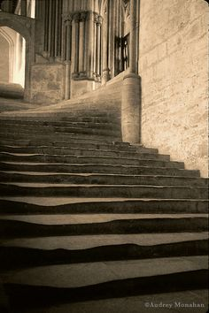 Wells Cathedral, Somerset, England.  Stairs.