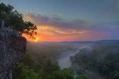Breathtaking, sunrise over the White River and mountains of Arkansas