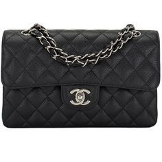 Preowned Chanel Black Quilted Caviar Small Classic Double Flap Bag ($5,200) ❤ liked on Polyvore featuring bags, handbags, chanel, purses, black, handbags purses, quilted hand bags, leather purse, genuine leather handbags and hand bags