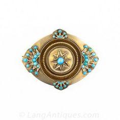 Victorian Turquoise Locket Brooch
