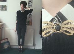 Shirt, H&M Jumper, Topshop Jeans, Gift From A Friend Bow Broach, Red Or Dead Shoes