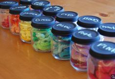 20 things to do with baby food glass jars: Hair band holders - @lilsugar via @babycenter