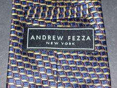 "Andrew Fezza New York Men's Suit Neck Tie 100% Silk 4""W 58""L Navy Gold Brown #AndrewFezza #Tie"