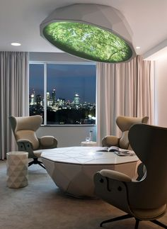 French designer Mathieu Lehanneur has created a meeting room in a London hotel where guests can relax beneath a canopy with an image of trees projected onto its surface. Playground Pictures, Playground Ideas, Luxury Furniture, Furniture Design, Pullman Hotel, Mathieu Lehanneur, Futuristic Interior, Top Interior Designers, Design Hotel