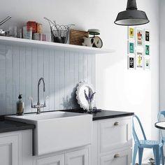 Evolution Sky Blue cm / Industrial design and vintage kitchen decoration with a light blue wall tiles backsplash Kitchen Shelves, Kitchen Decor, Kitchen Cabinets, Kitchen Tile, Evolution, Cheap Tiles, Greige, Metro Style, Ceramic Wall Tiles