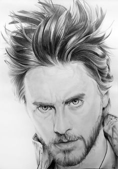 Jared Leto by Portrait Lc https://www.facebook.com/PortraitLc  #art #drawing #Graphit #portrait #black #white