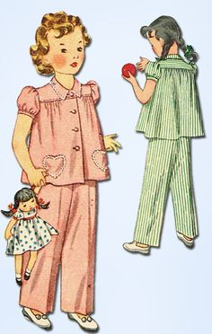1940s Vintage Simplicity Sewing Pattern 2054 Simple to Make Girls Pajama Size 6