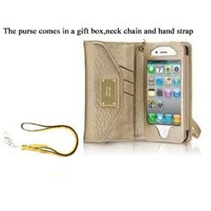 $22.60   Cellbell High Quality Designer Style Gold Wallet Leather purse Case For iPhone 4 4S 4 S With Card Holder