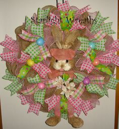 Bunny with Paws and Legs Burlap and Mesh by StarlightWreaths