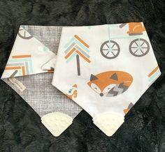Baby Chew/Teether Fox Print Hankerchief Bib by AnchorsAwayBibs