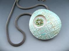 Polymer clay with vintage brass flower accents by Stonehouse Studio
