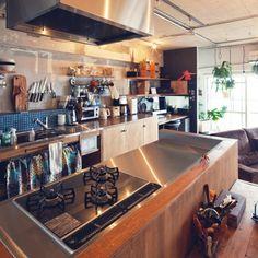 タイル/ざっくり収納/カフェ風/コンクリート打ちっ放し/対面式キッチン/キッチン…などのインテリア実例 - 2015-03-20 22:53:42 | RoomClip(ルームクリップ)